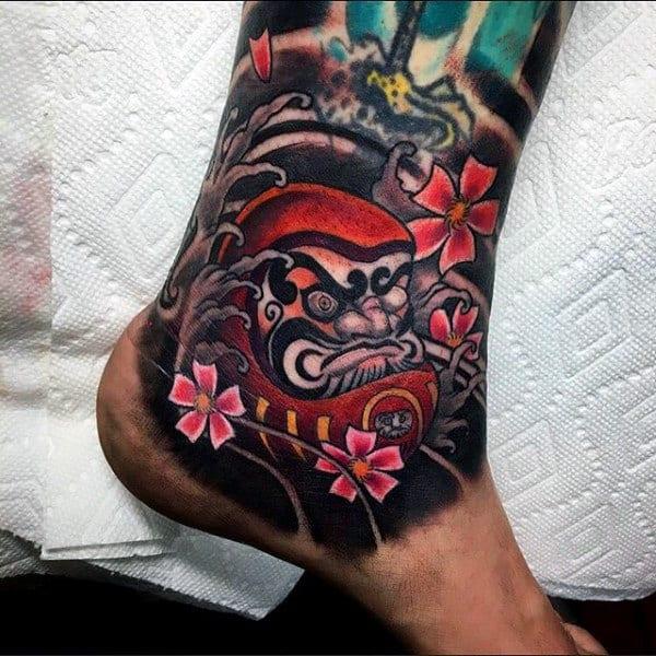 Ankle Sleeve Daruma Doll Male Tattoos