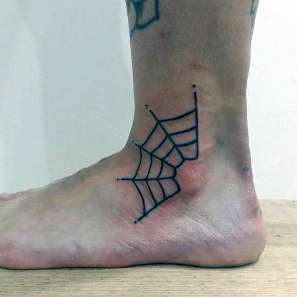 Ankle Spider Web Tattoo For Men