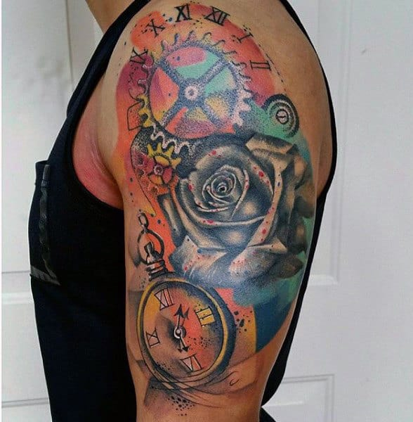 Antique Clock And Flower Watercolor Tattoo On Arms For Male