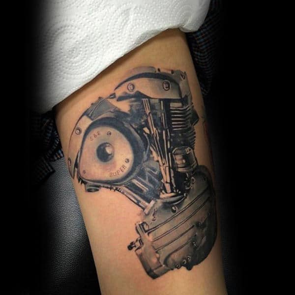 Antique Engine Tattoo Male Arms Ideas