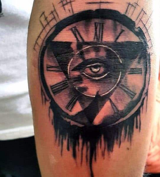 Antique Men's Clock Tattoo
