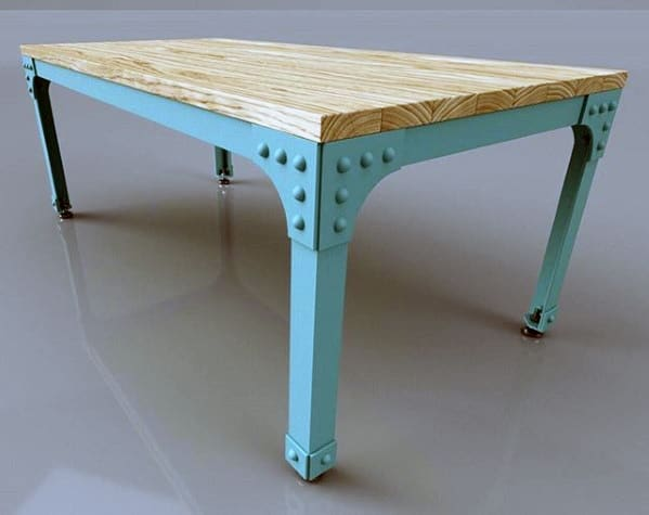 Antique Metal Frame Dining Table Bachelor Pad Furniture