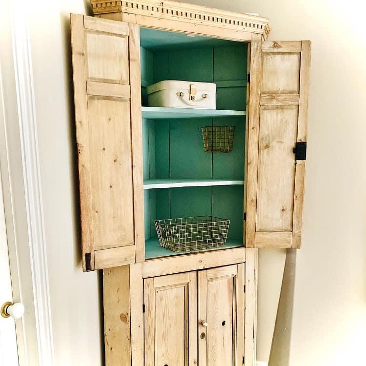 Antique Victorian Pine Corner Storage Cabinet Goldanddelicious