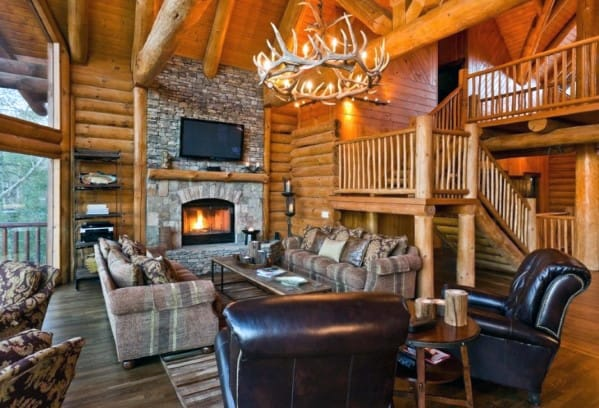 Antler Chandelier Rustic Cabin Ideas Family Room Lighting