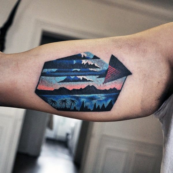 Anture Mountains Amazing Mens Bicep Tattoo Ideas