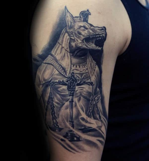 Anubis Upper Arm Male Tattoos