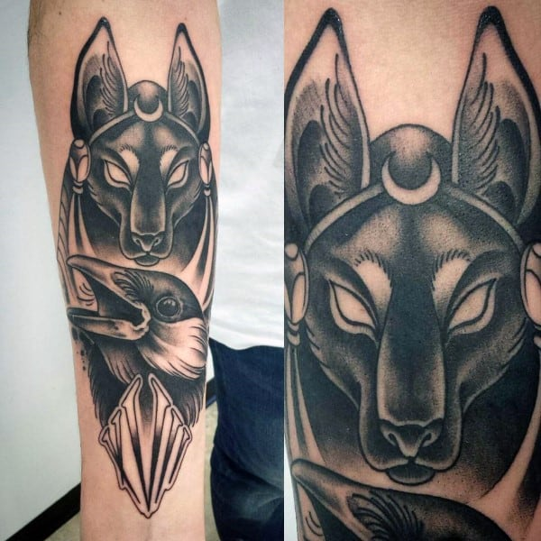 Anubis With Crow Mens Inner Forearm Tattoos