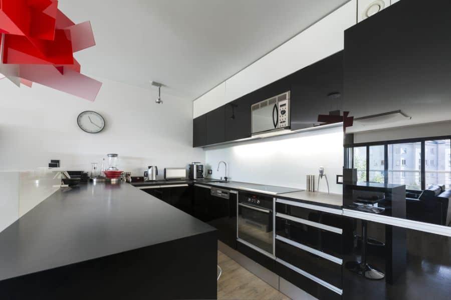 Apartment Black And White Kitchen 1