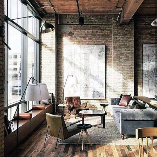Apartment Industrial Interior Design With Floor To Ceiling Windows