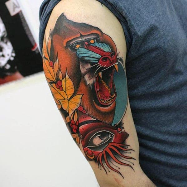 Ape Cool Neo Traditional Guys Arm Tattoo Design Inspiration