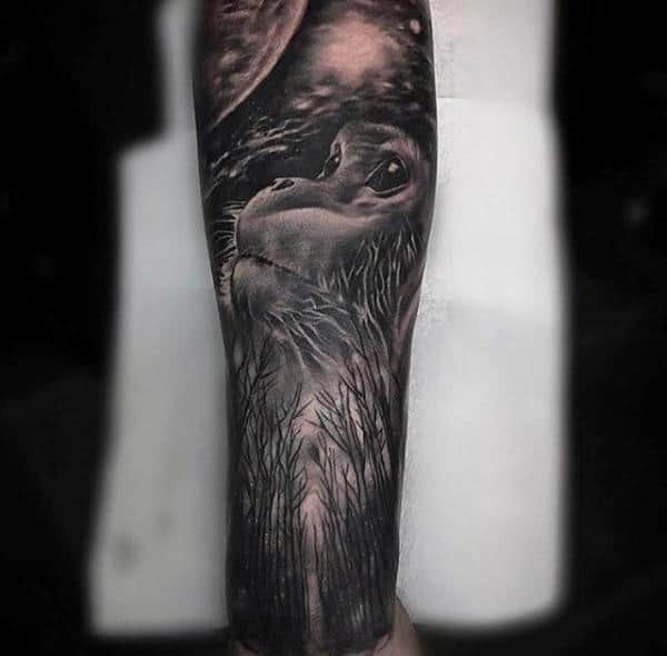 Ape Dark Nature Forest Half Sleeve Forearm Tattoo Ideas For Guys