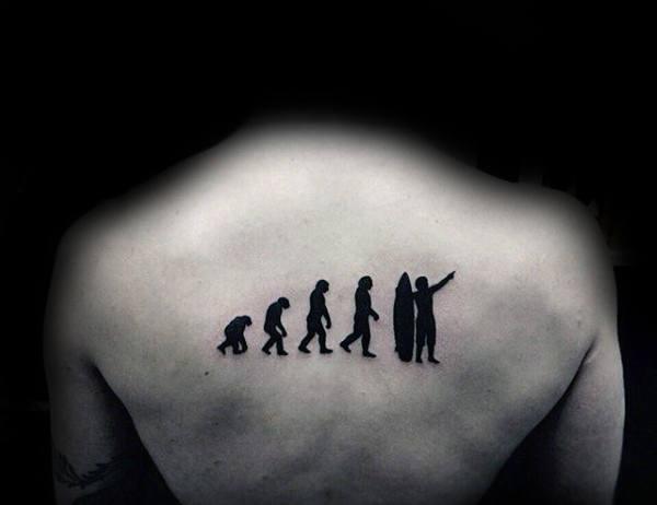 Ape To Surf Man Tattoos Male Back