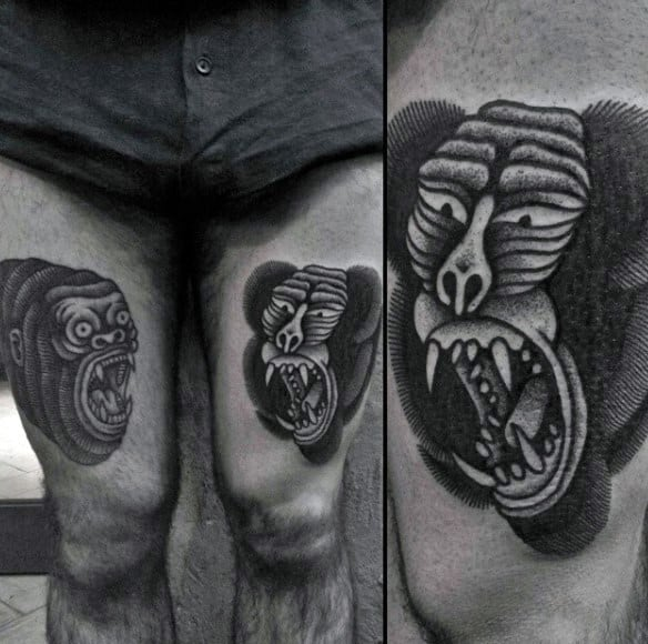 Apes Thigh Tattoos On Man