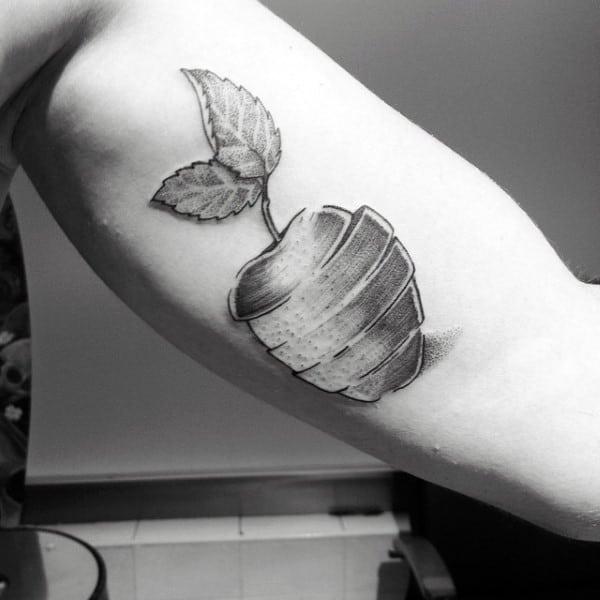 Apple Slices Mens Inner Arm Bicep Tattoo