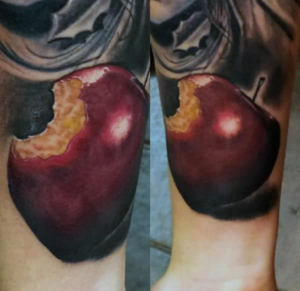 Apple With Bite Taken Out Of It Mens Forearm Tattoos
