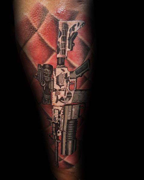 Ar 15 Male Sleeve Forearm Tattoo