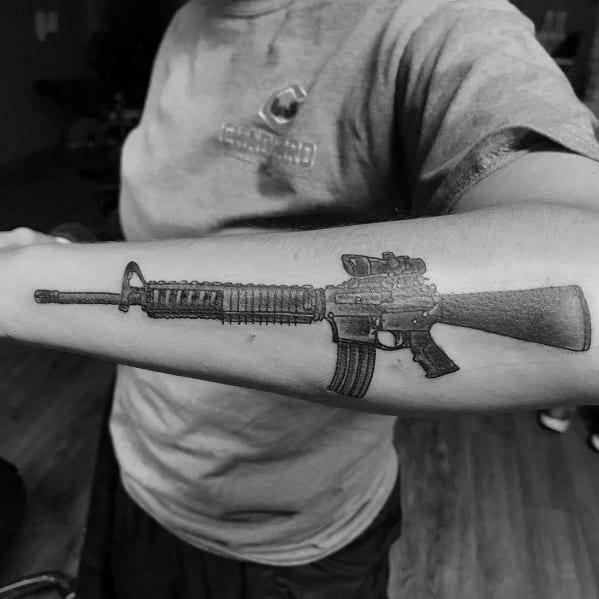 Ar 15 Tattoo Ideas For Men On Outer Forearm
