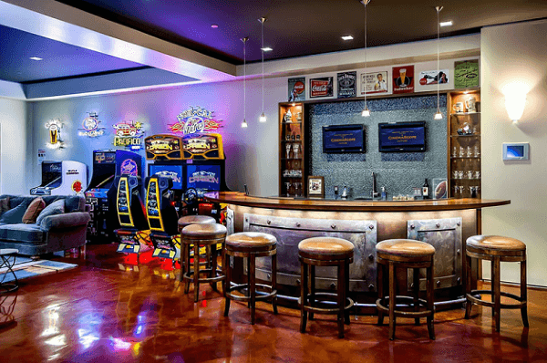 Arcade Bar Home Basement Designs For Man Caves