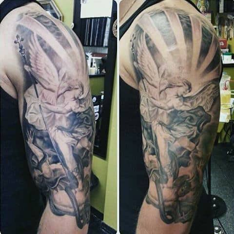 Archangel Micheal Tattoo Ides For Men Half Sleeve