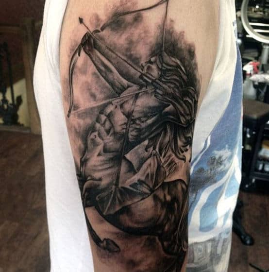 Archer Half Human Half Horse Mens Sagittarius Tattoo On Upper Arm