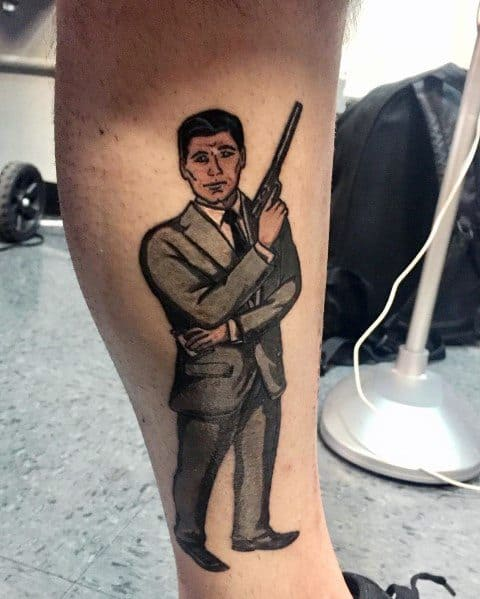 Archer Tattoo Designs For Men On Side Of Leg
