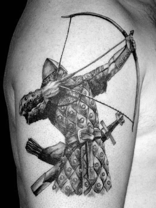 Archer Warrior Firing Bow Archery Mens Upper Arm Tattoos