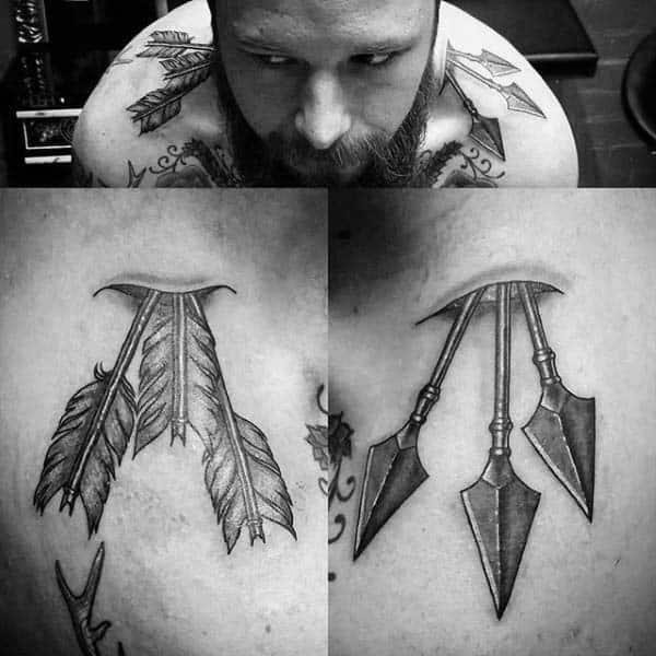 Archery Arrows Through Shoulders Tattoo For Men In Black Ink