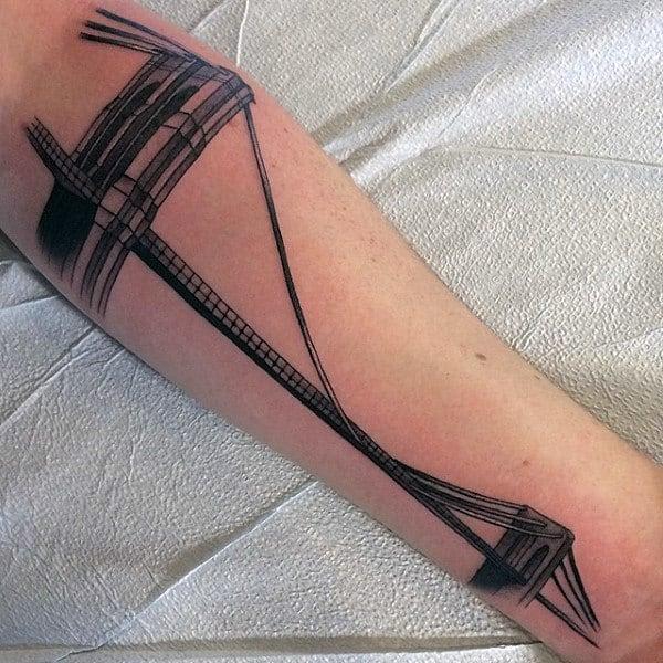 Architecture Brooklyn Bridge Mens Forearm Tattoo