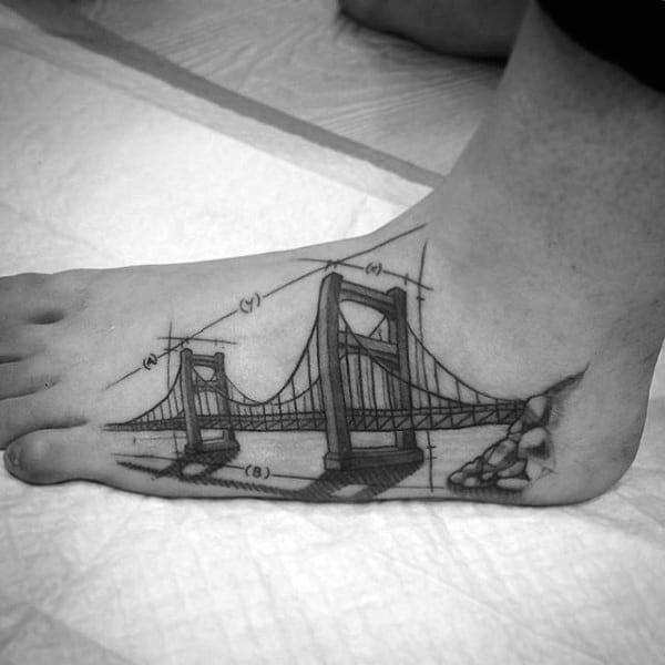 Architecture Mens Bridge Foot Tattoos
