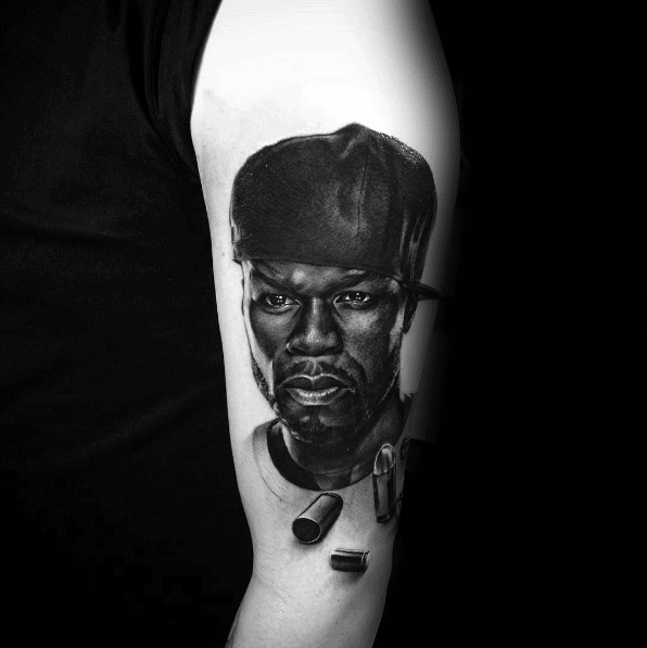 Arm 3d 50 Cent Guys Portrait Tattoos