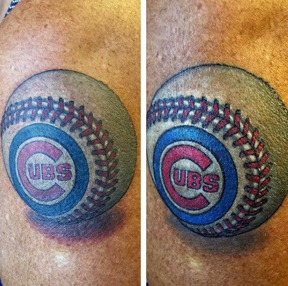 Arm 3d Baseball Male Chicago Cubs Tattoo Design Ideas
