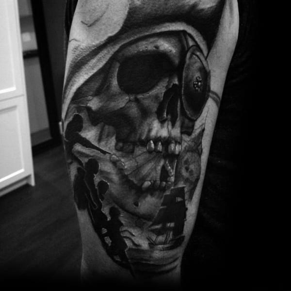 Arm 3d Black And Grey Skull Goonies Tattoo Designs