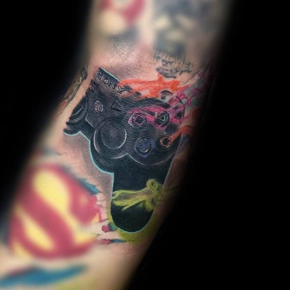 50 Playstation Tattoo Designs For Men - Video Game Ink Ideas