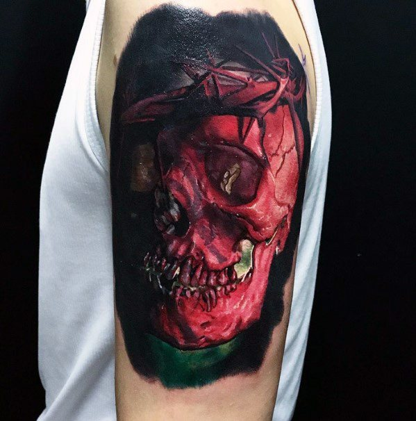 Arm 3d Manly Badass Skull Tattoo Design Ideas For Men