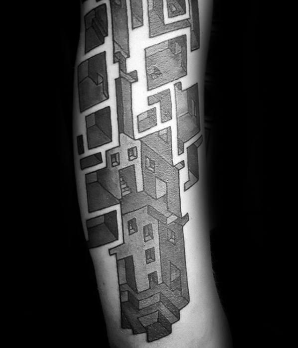 Arm 3d Maze Tattoos Men