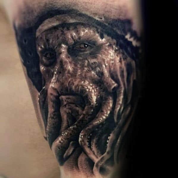 Arm 3d Realistic Davy Jones Tattoo On Men