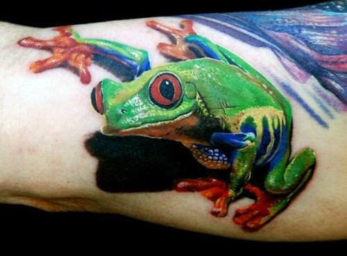 Arm 3d Realistic Male Frog Tattoo