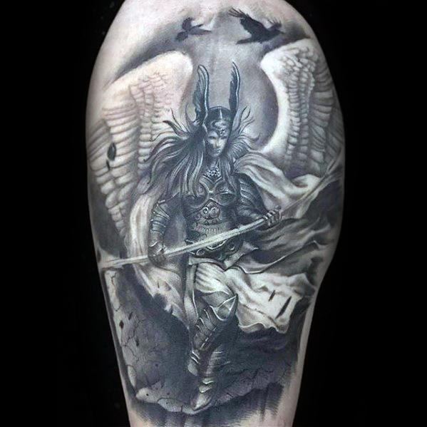 Arm 3d Realistic Mens Manly Valkyrie Tattoo Designs