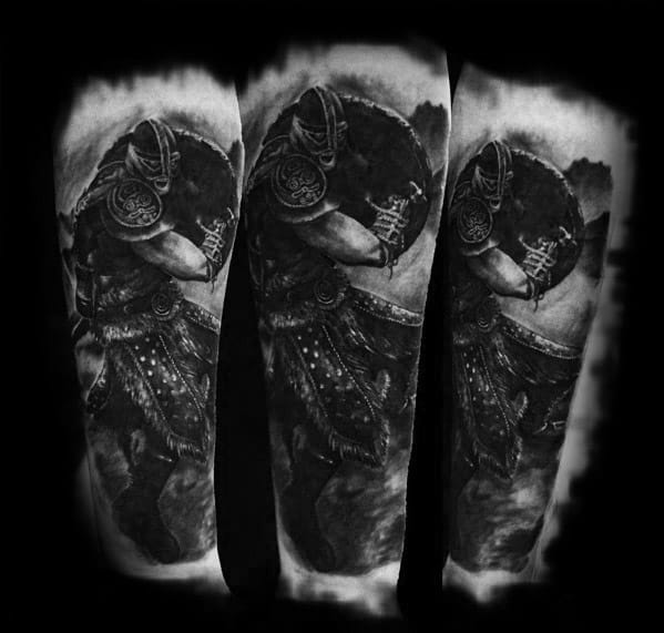 Arm 3d Skyrim Themed Tattoo Design On Man