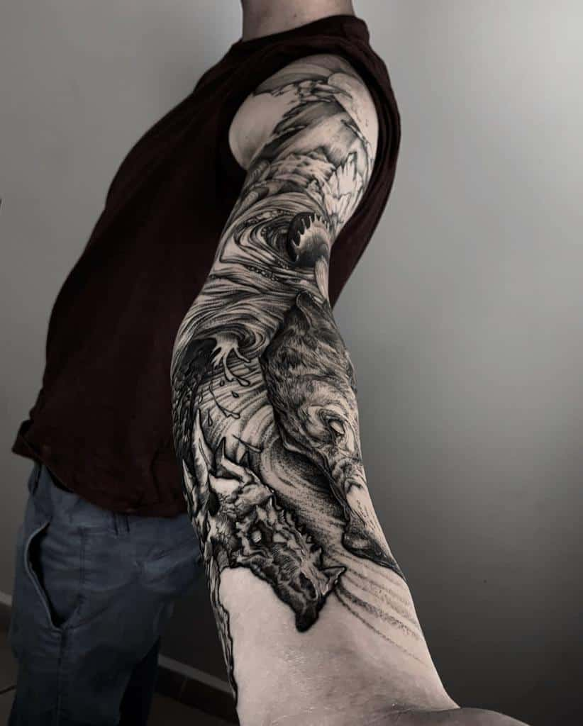 arm Norse Wolf Tattoos sado_tt
