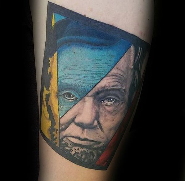 Arm Abstract Modern Abraham Lincoln Tattoo Designs For Guys