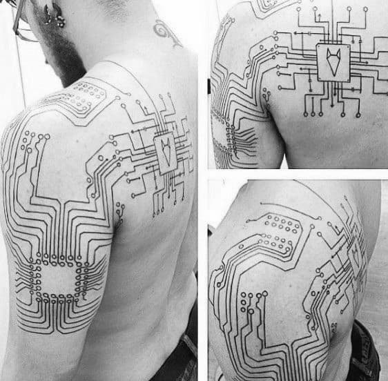 Arm And Back Guys Tattoos With Computer Design