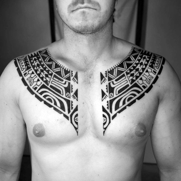 Arm And Chest Guys Tribal Tattoos