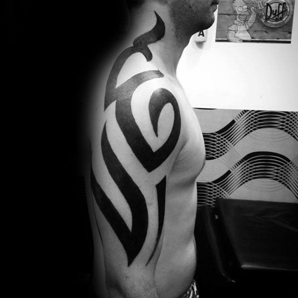 Arm And Neck Mens Badass Tribal Tattoo Design Ideas