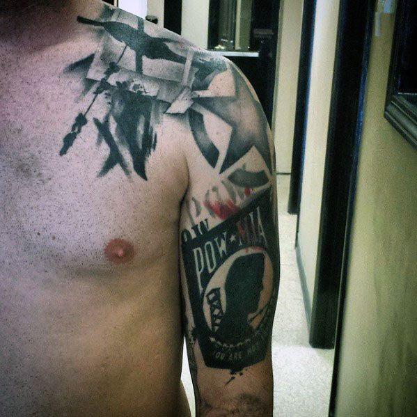 Arm And Shoulder Mens Pow Mia Tattoo Ideas