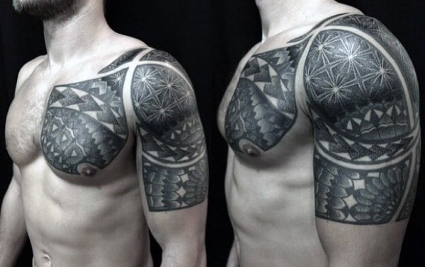 Arm And Shoulder Sacred Geometry Tattoo For Men