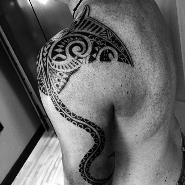 Arm And Shoulder Tribal Manta Ray Tattoo Ideas On Guys