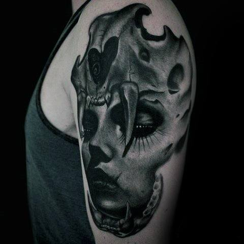 Arm Animal Skull Female Portrait Distinctive Male Morph Tattoo Designs
