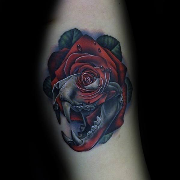 Arm Animal Skull With Red Rose Flower Manly Morph Tattoo Design Ideas For Men