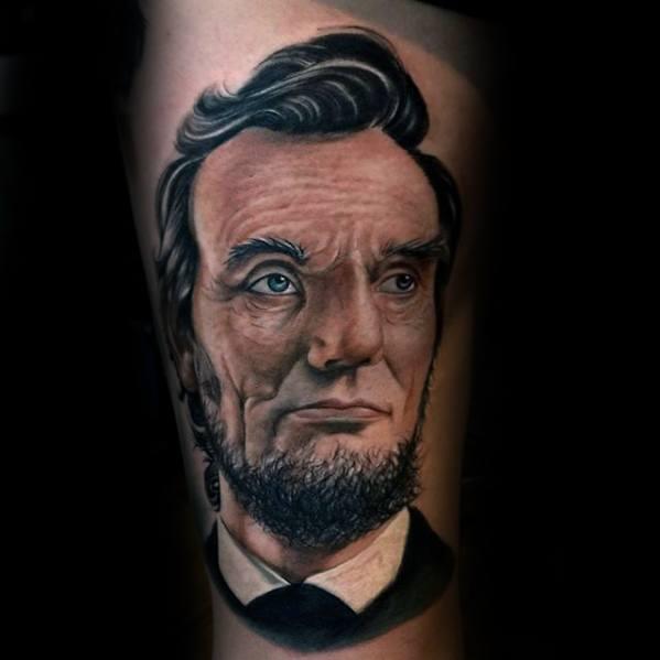 Arm Artistic Male Abraham Lincoln Tattoo Ideas